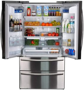 SMETA 36 Inch Counter Depth French Door Refrigerator Bottom Freezer