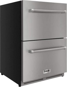 Thor Kitchen 24 inch Indoor and Outdoor Double Drawer Undercounter Built-in Fridge Refrigerator